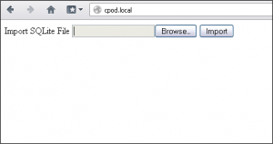 The default screen with our file import option (shown in FireFox)